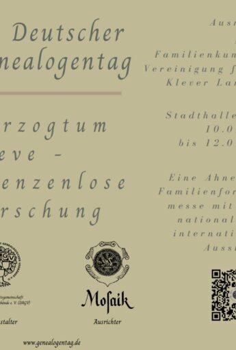 Mosaik – Die familienkundliche Vereinigung für das Klever Land e. V.: 73. Deutscher Genealogentag